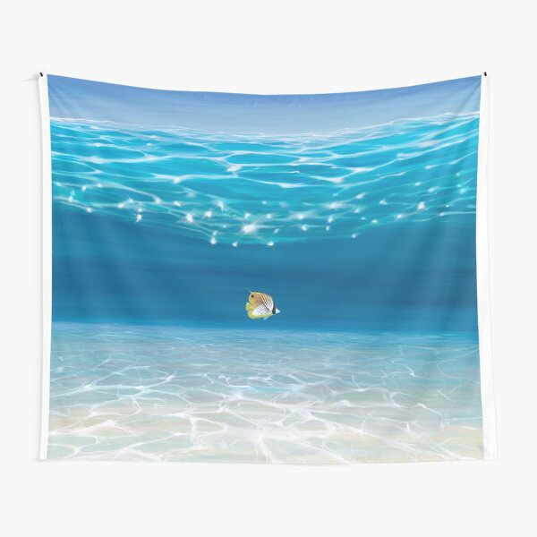Solo in the Turquoise Sea - an Underwater Seascape with threadfin butterfly fish Tapestry
