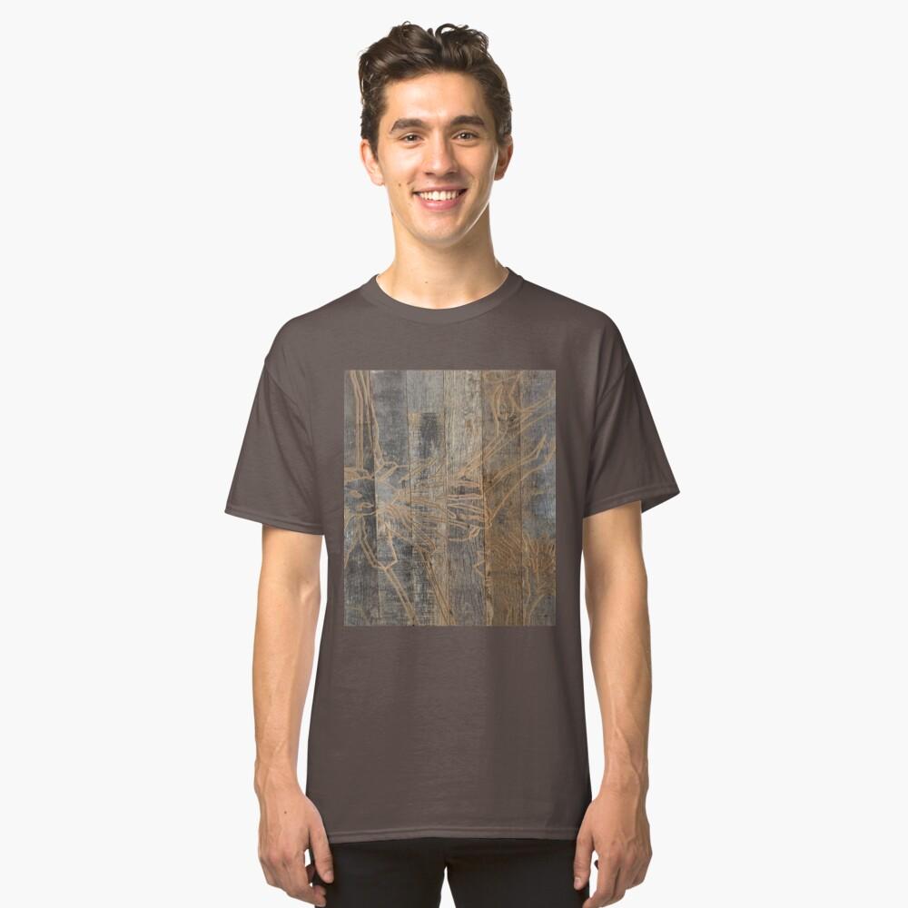 wunderliche Gänseblümchenblume graviertes Holz barnwood Classic T-Shirt