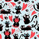 Cool pattern of funny loving cats by Tanor