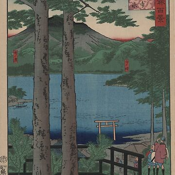 Chuzenji Lake in Shimozuke Province - Japanese pre 1915 Woodblock Print by ashburg