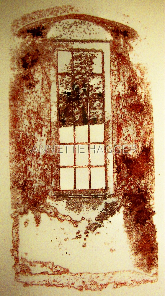 SILKSCREEN PRINT - WINDOW AT CASTLE ACRE PRIORY RUINS by ANNETTE HAGGER