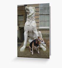 Real Dog Meets Stone Dog Greeting Card