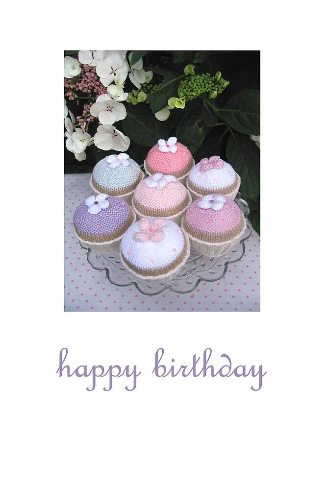 knitted flower cakes by bunnyknitter