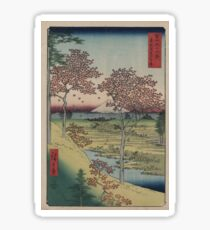 Sunset Hill, Meguro in the eastern capitol - - Japanese pre 1915 Woodblock Print Sticker