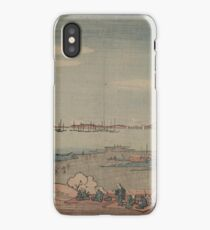 Perspective view of Mount Dōkan from Shinagawa - Japanese pre 1915 Woodblock Print iPhone Case/Skin