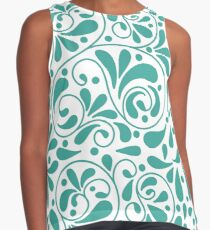 Playful turquoise leaves Contrast Tank