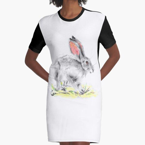 Rabbit - Charcoal Animals Graphic T-Shirt Dress