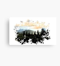 Mountains Painted Landscape Canvas Print