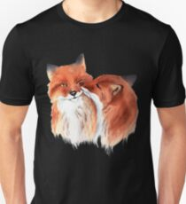 Watercolor foxes in love  T-Shirt