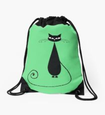 Black cat silhouette Drawstring Bag