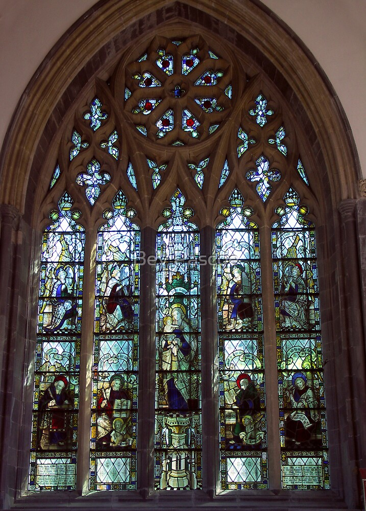 Stained Glass Window of St.Davids Cathedral, Pembrokeshire, Wales by Bev Pascoe