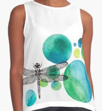 Deconstructed Dragonfly with Turquoise Circles Sleeveless Top