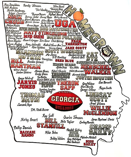UGA Football Map Homegrown by creativedaycafe