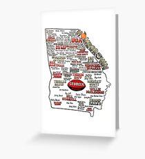 UGA Football Map Homegrown Greeting Card