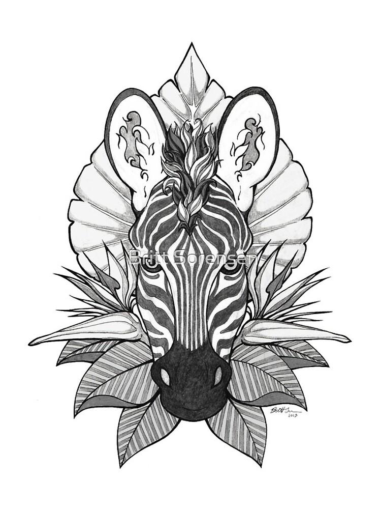Zebra & Jungle Leaves by brittja