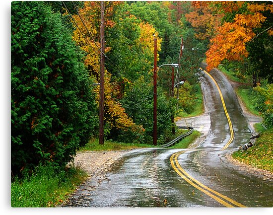 Rain on A Country Road by George Cousins