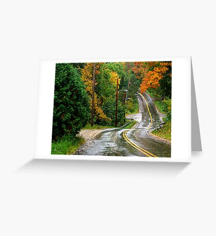 Rain on A Country Road Greeting Card