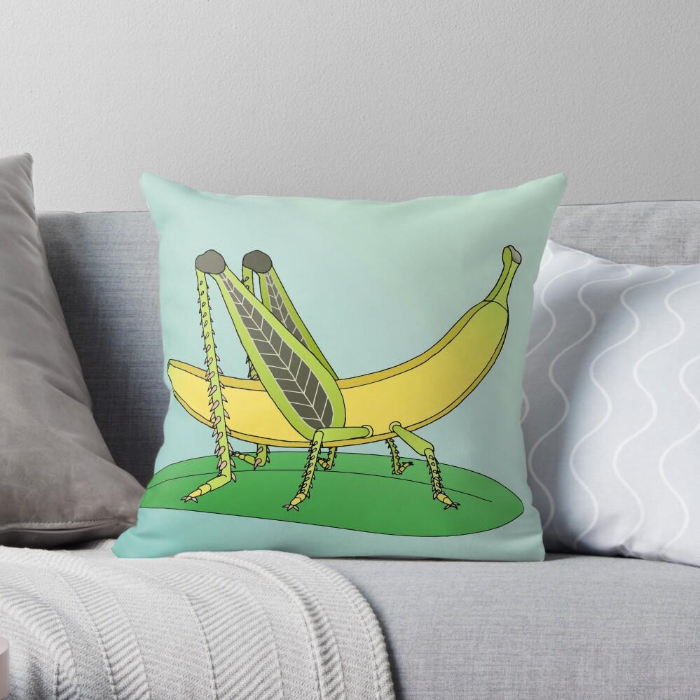 Banana Grasshopper Throw Pillow