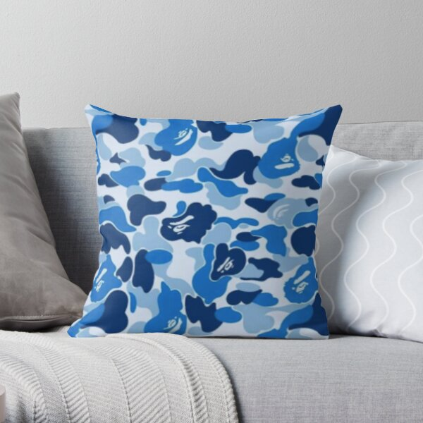 blue camouflage design Throw Pillow