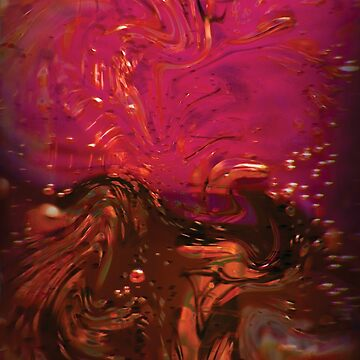 Red, Pink and Brown Water Bubbles Abstract by CreativeBytes