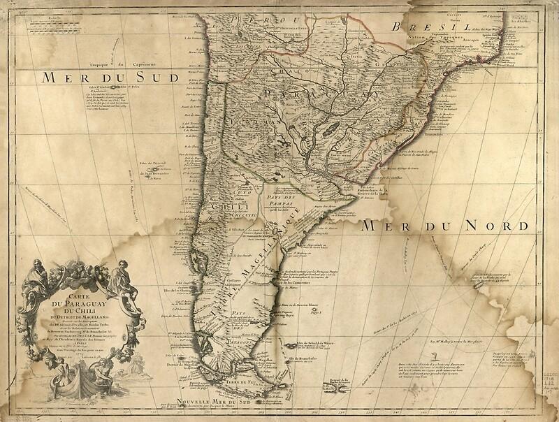 1718 - Cart du Paraguay du Chili, Mer du Sud, Mer du Nord