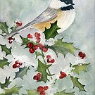 Christmas Beauty, Black-capped Chickadee by Diane Hall