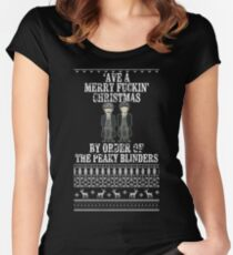 'Ave a merry fuckin' christmas by order of the peaky blinders Women's Fitted Scoop T-Shirt