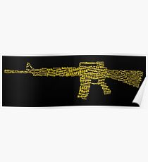 PUBG M16A4 Word Cloud Poster Poster