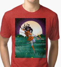 fantasy huntress dark elf woman Tri-blend T-Shirt