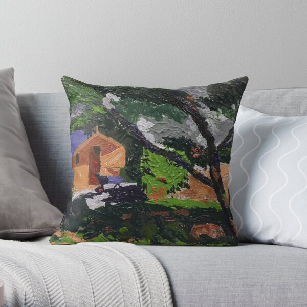 Cat in the shade Throw Pillow