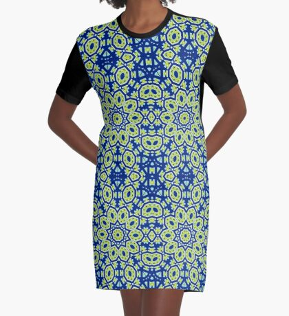 Blue And Green Summer Dream Graphic T-Shirt Dress