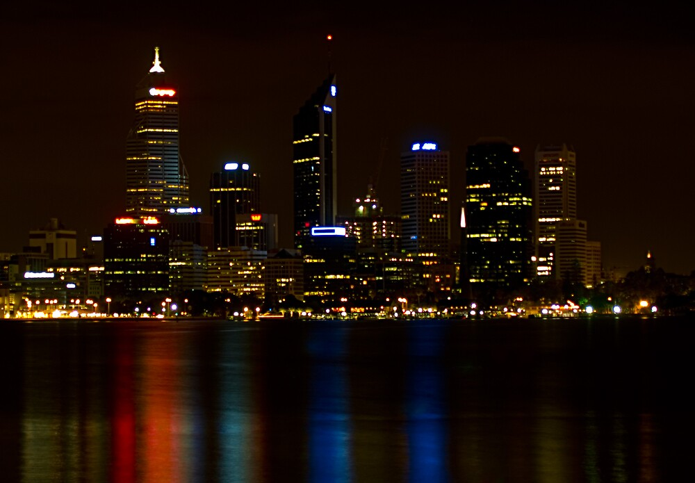 Perth City at Night by Adrian Lord