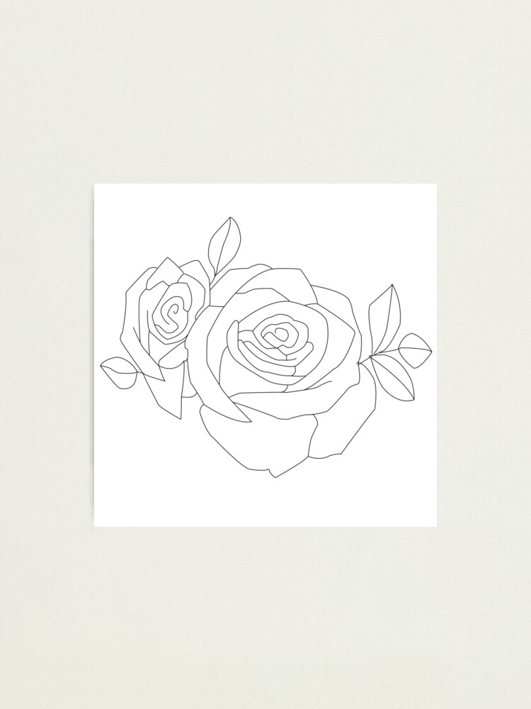 Halsey Tattoo Rose Outline Photographic Print By Savagedesigns