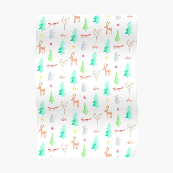 Woodland Holiday Pattern Poster
