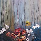 Flowers in forest by Andypainting