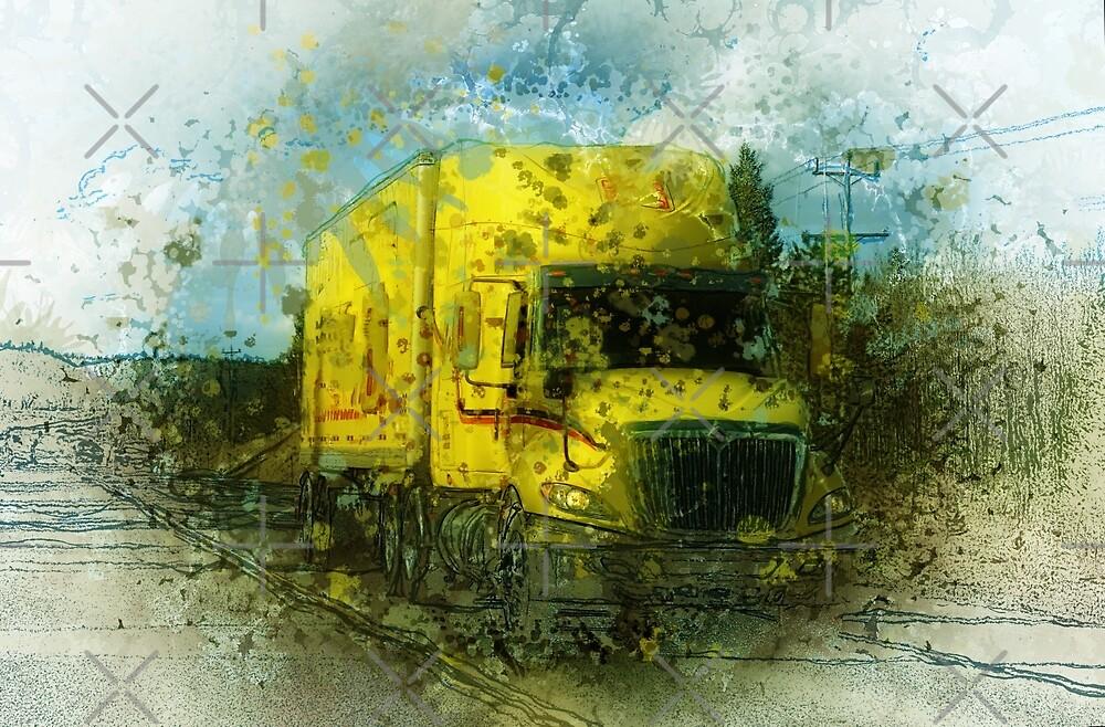 Yellow Cargo Truck Fine Art by Skye Ryan-Evans