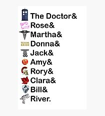 Doctor Who Names Photographic Print