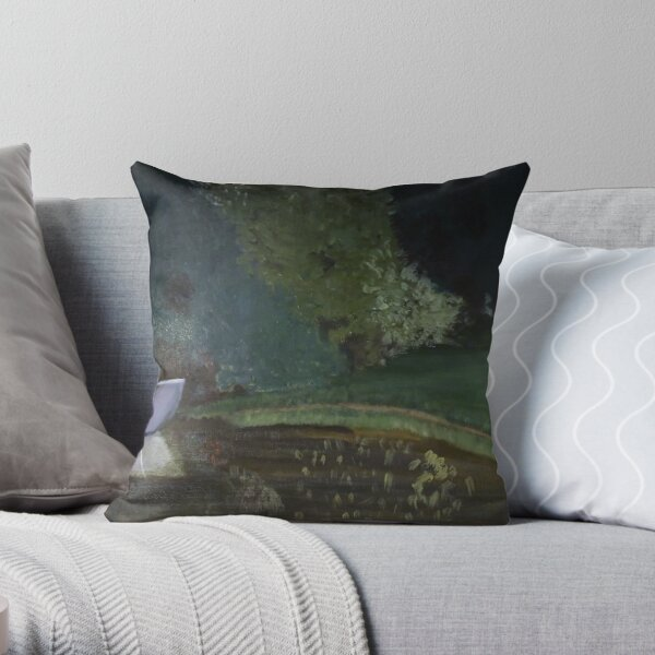 Landscape with the boat Throw Pillow