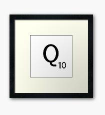 Scrabble Large Letter Q with White Background Framed Print