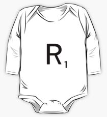 Scrabble Large Letter R with White Background One Piece - Long Sleeve