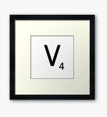 Scrabble Large Letter V with White Background Framed Print