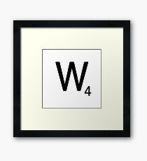 Scrabble Large Letter W with White Background Framed Print