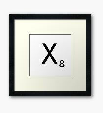 Scrabble Large Letter X with White Background Framed Print
