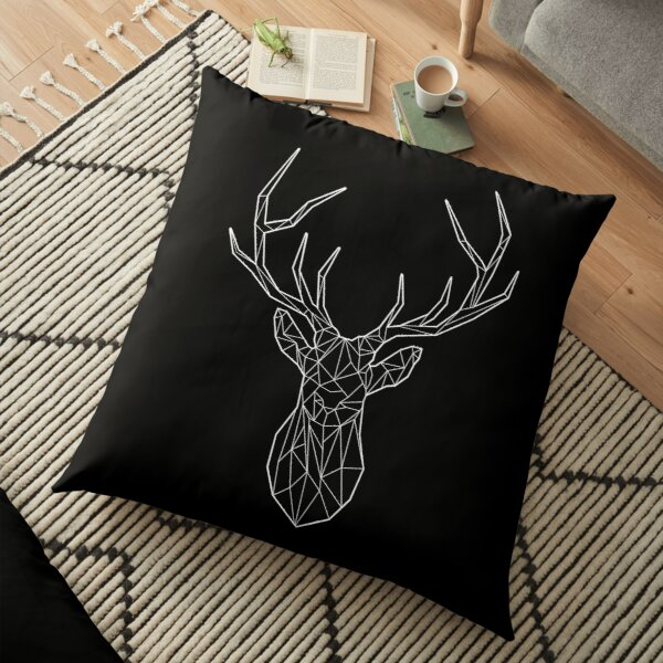 Geometric stag - BLACK Floor Pillow