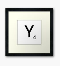 Scrabble Large Letter Y with White Background Framed Print