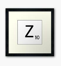 Scrabble Large Letter Z with White Background Framed Print