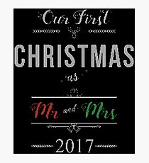 Our First Christmas as Mr and Mrs 2017  Ugly Sweater Knitted Design Gift For Just Married Married Couples T-Shirt Sweater Hoodie Iphone Samsung Phone Case Coffee Mug Tablet Case Photographic Print