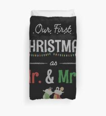 Our First Christmas as Mr and Mrs Ugly Sweater Knitted Design Gift For Just Married Married Couples T-Shirt Sweater Hoodie Iphone Samsung Phone Case Coffee Mug Tablet Case Duvet Cover