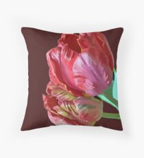 Two Red Tulips Vector  Throw Pillow