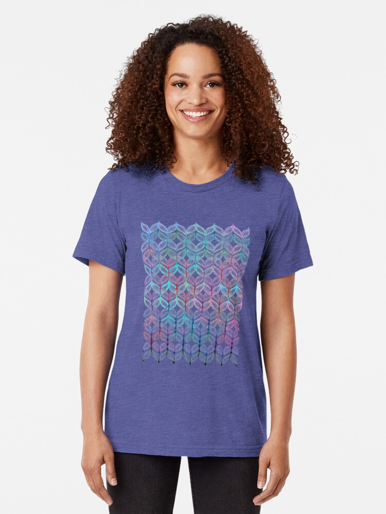 Alternate view of Mermaid's Braids - a colored pencil pattern Tri-blend T-Shirt